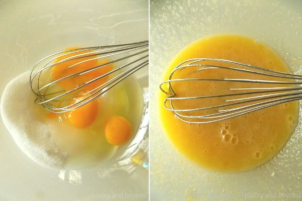 Mixing the sugar and eggs in a bowl.