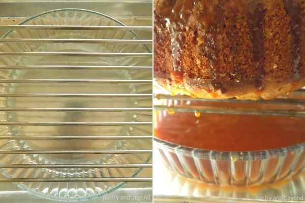 Placing a little bit wider baking dish than the cake under the rack, so the excess caramel sauce goes to the bottom after pouring it over the cake.