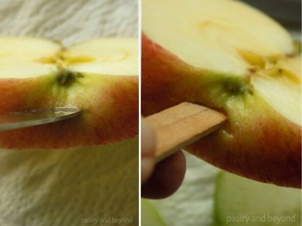 Make a small slit to the bottom of the apple slice to insert the wooden stick. easily.