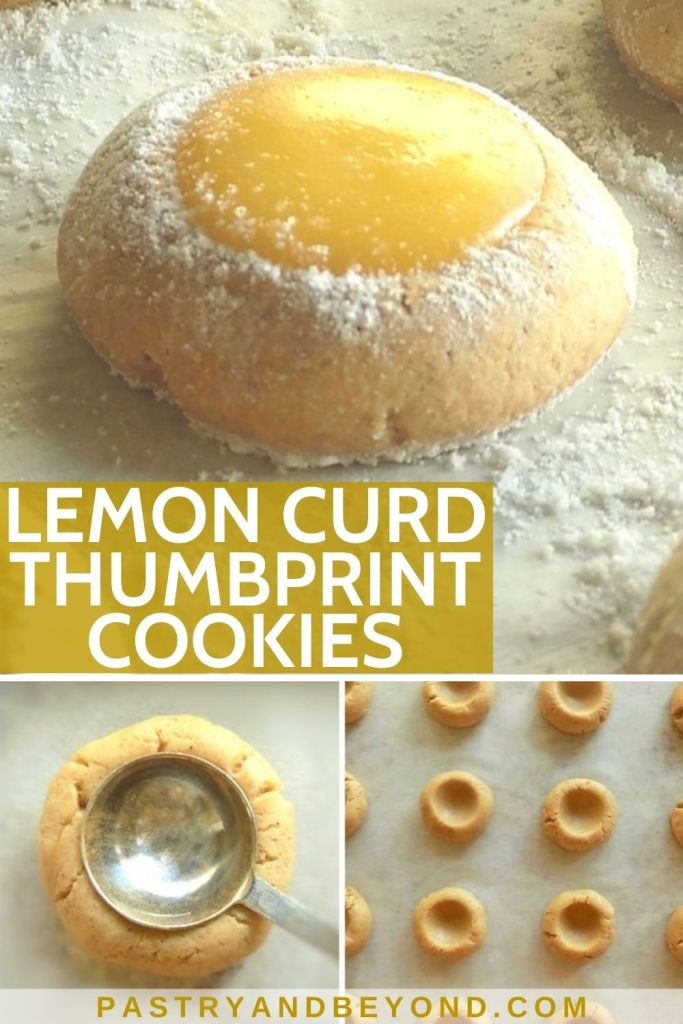 Collage of lemon curd thumbprint cookie and steps of doing it.