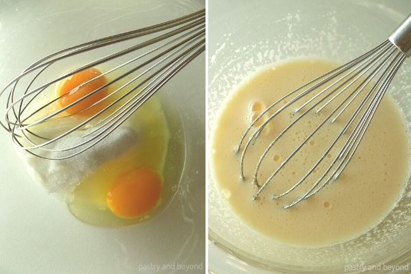 Whisking the egg and sugar in a medium bowl.