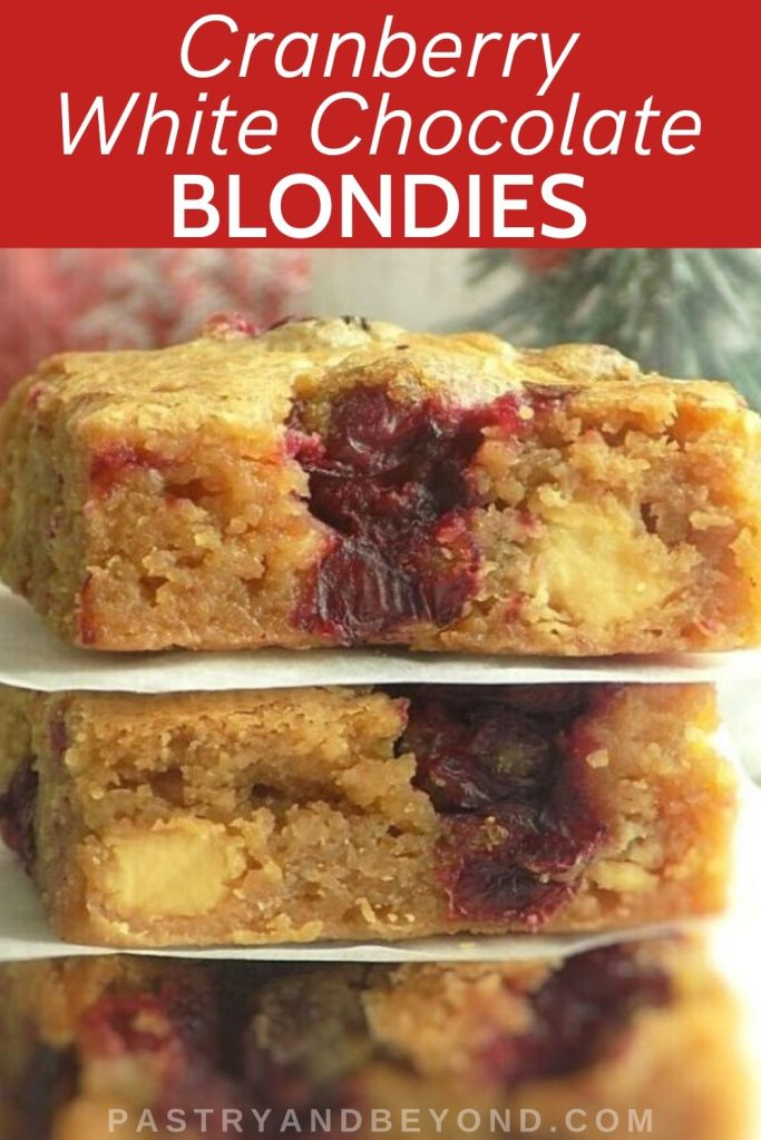 Pin for cranberry white chocolate blondies