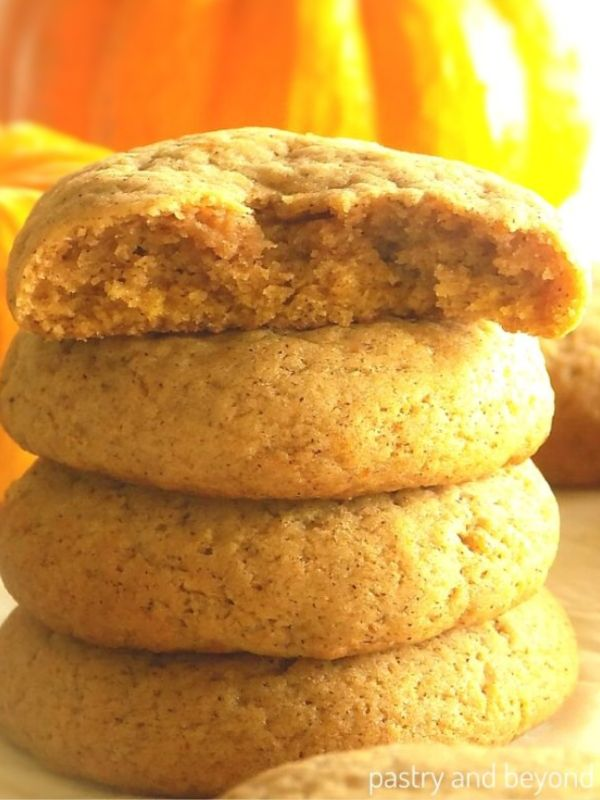 Half of a Pumpkin Spice Cookie to show the interior on stacked cookies.