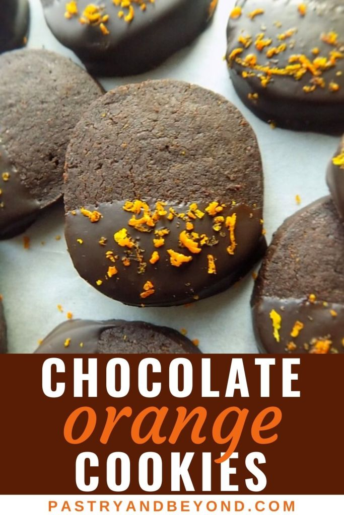 Chocolate dipped cocoa orange cookies with text overlay