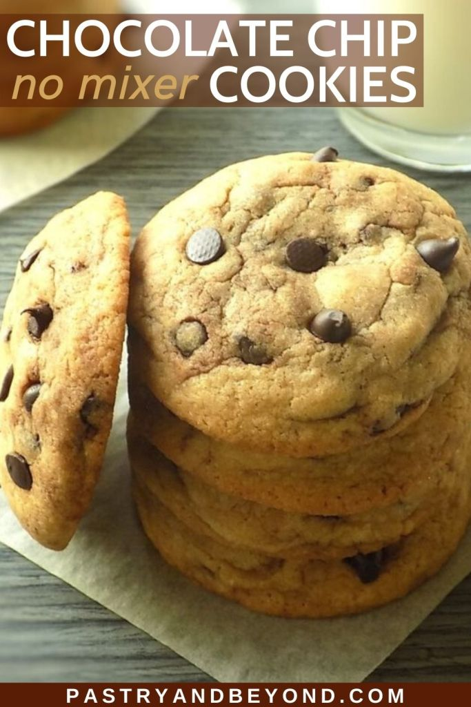 Stacked chocolate chip cookies.