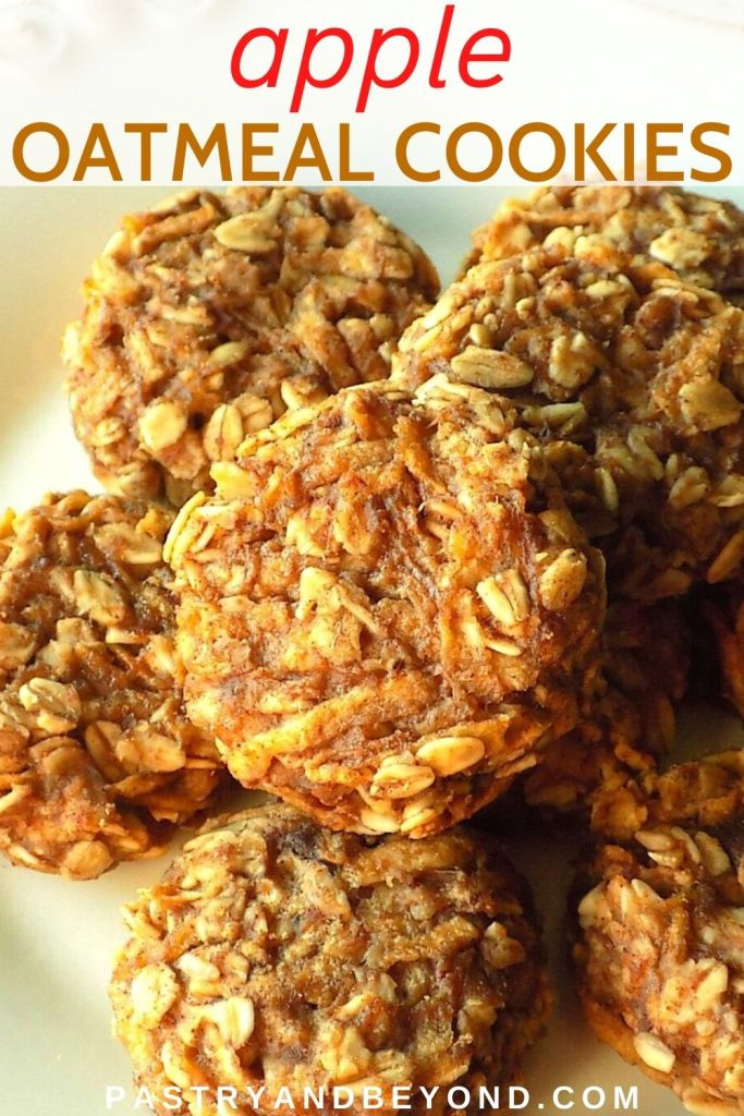 Oatmeal apple cookies on a plate.