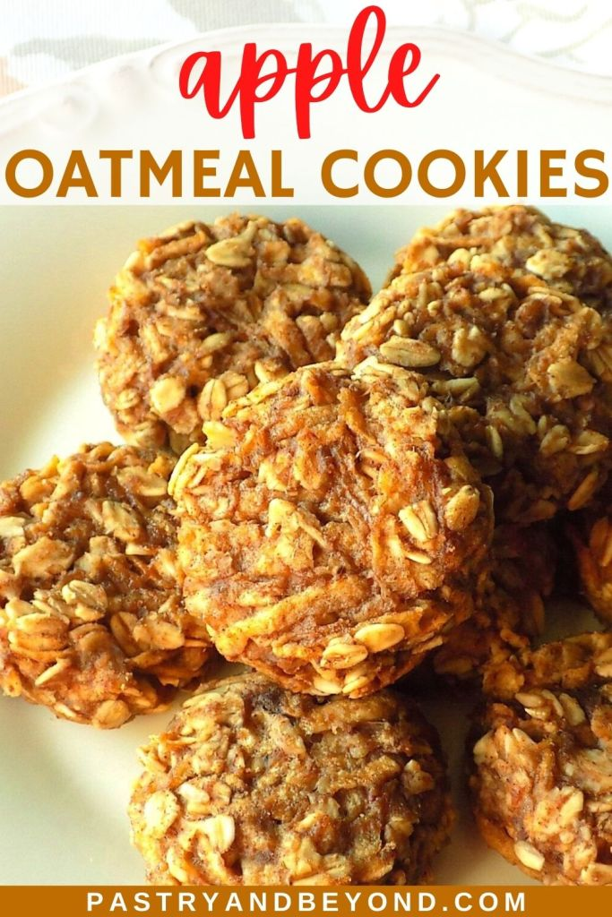 Apple oatmeal cookies with text overlay.