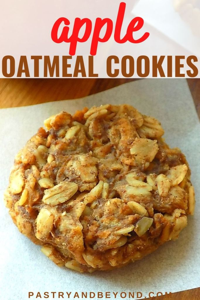 Apple oatmeal cookie on a parchment paper.