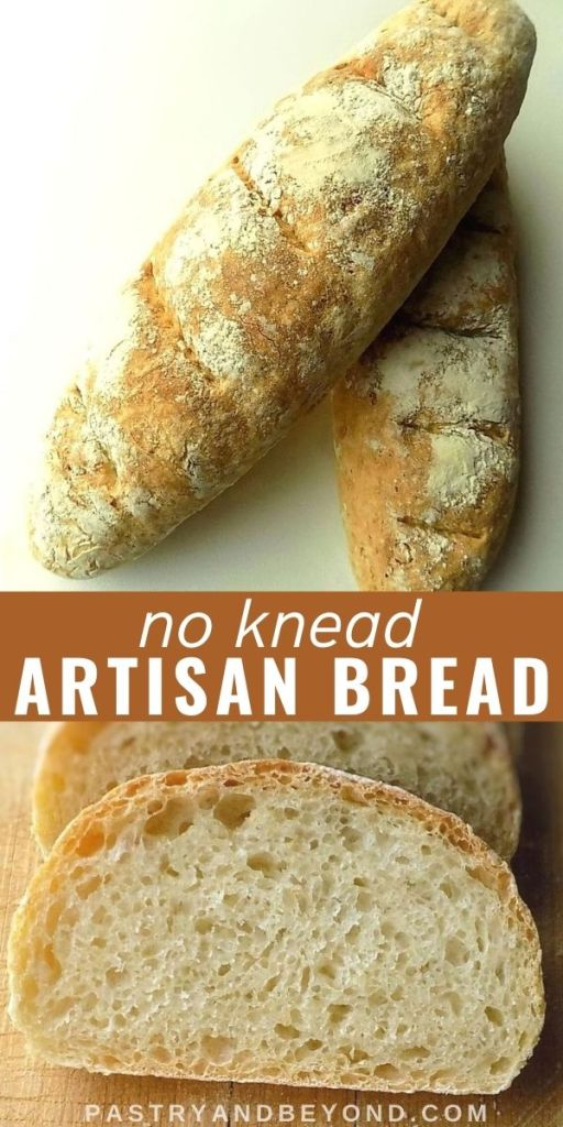2 loaves of no knead bread and a slice of bread with text overlay in the middle.