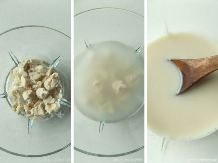 Collage showing the process of dissolving fresh yeast with water in a small bowl.