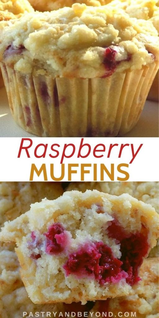 Lemon Raspberry Streusel Muffins showing the whole muffin and half muffin with text overlay.