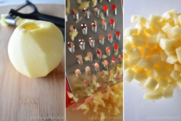 Peeled, cored, grated and chopped apples.