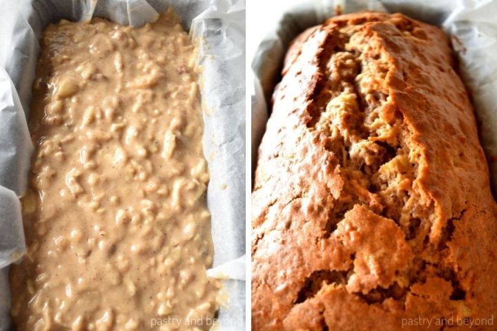 Apple cake loaf before and after baked.