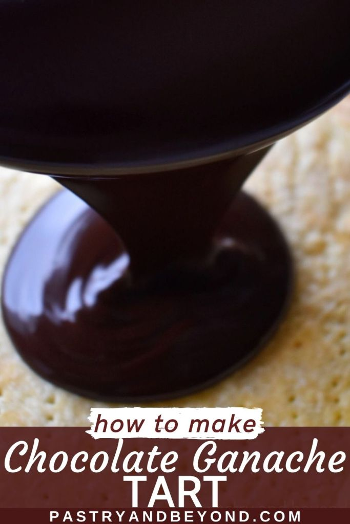 Pouring chocolate ganache over the tart crust with text overlay.
