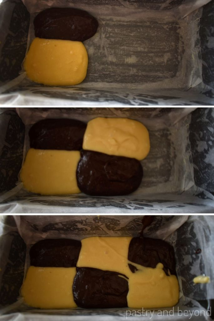 Spooning vanilla and chocolate batter intp the loaf pan.