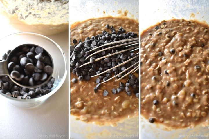 Collage of a tablespoon of chocolate chips, adding chocolate chips into the mixture and stirred mixture.