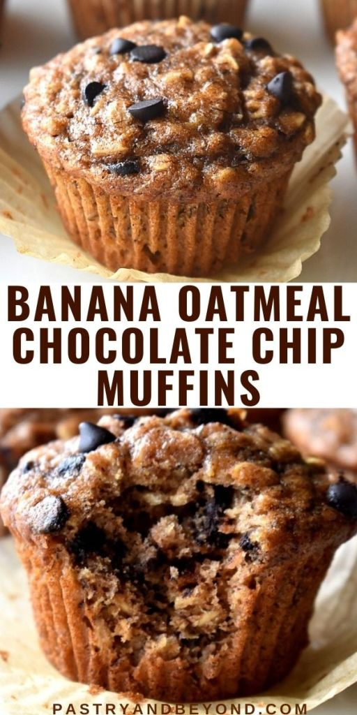 Collage of whole banana oatmeal muffin and a muffin with a bite taken from it.