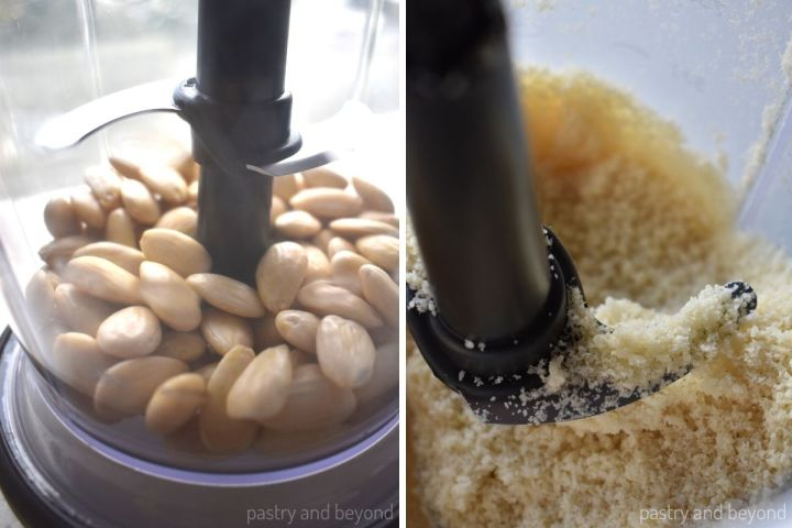 Collage of peeled almonds in a blender before and after grounded.