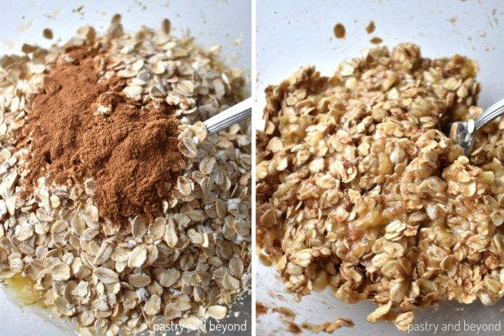 Collage for stirring mashed banana, oatmeal and cinnamon with a fork.