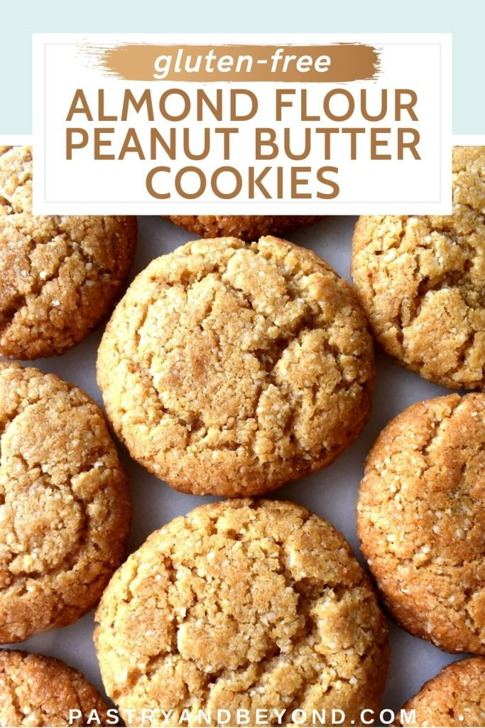 Almond flour peanut butter cookies with text overlay.