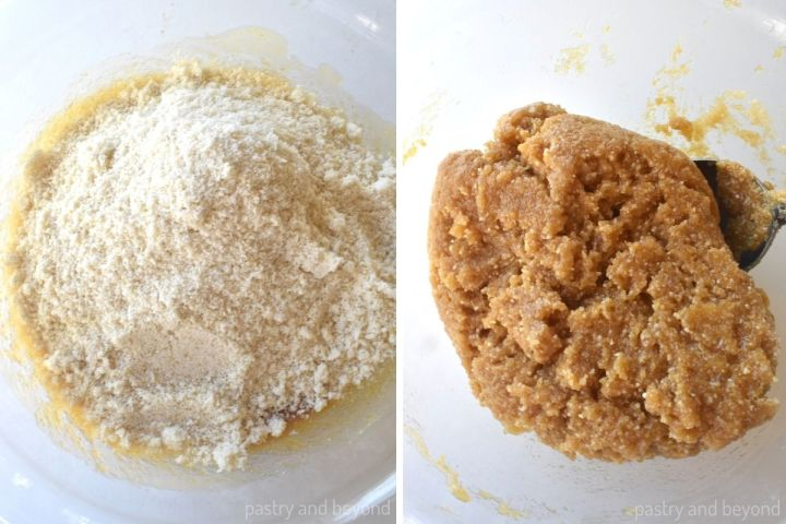 Collage of adding almond flour to the mixture and stirring with a spoon until combined.