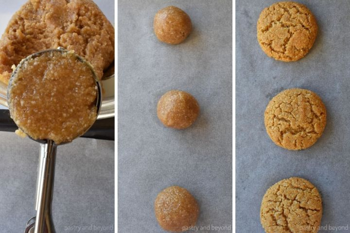 Collage showing the process of making balls out of the dough and the cookies after baked.