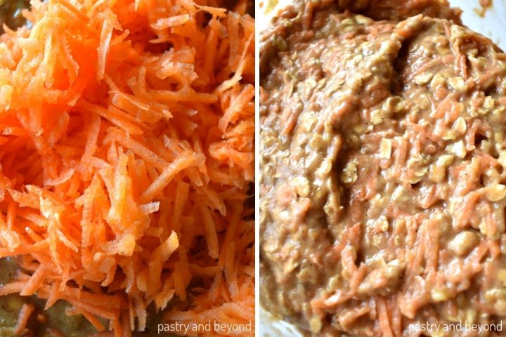 Collage of adding the grated carrots into the batter and stirring.
