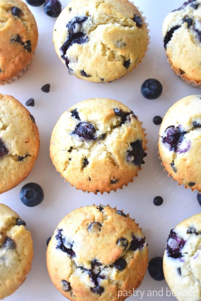 Overhead view of blueberry chocolate chip muffins.