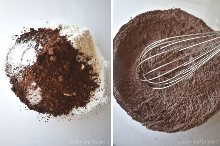 Collage for mixing flour, cocoa powder, baking powder and salt in a bowl with a whisk.