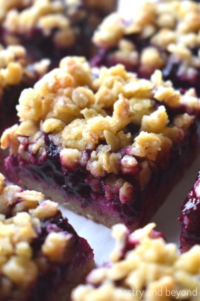 Close up of blueberry crumble bar.