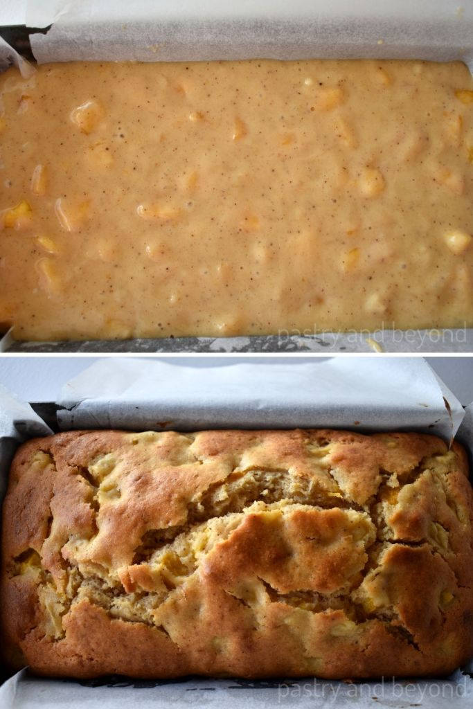 Collage for unbaked and baked peach bread.