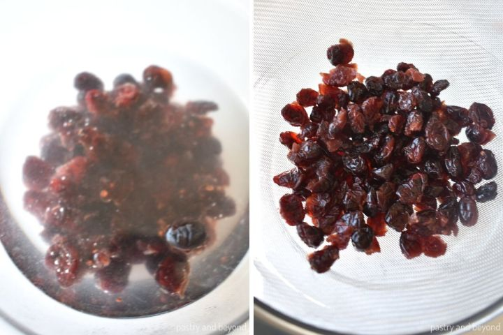 Collage of soaking cranberries and draining them.