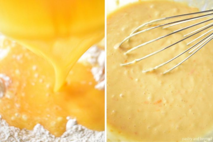 Collage of adding wet mixture into dry ingredients and stirring with a whisk.