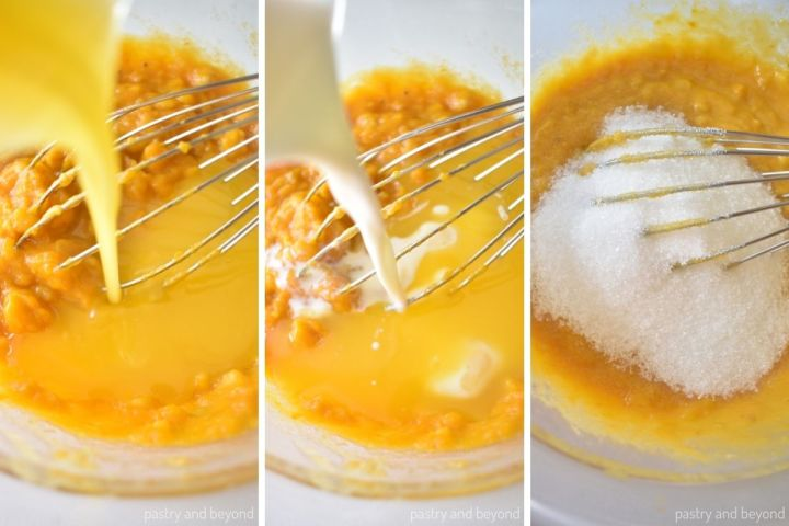 Collage of adding melted butter, milk and sugar to the pumpkin mixture.