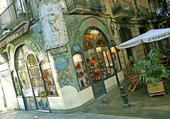 Facade of the venerable Escriba pastry shop on the Rambla