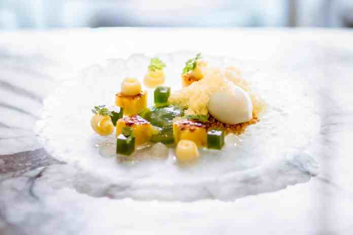 Pineapple brulée and granita, green apple sorbet, mint and lemon gel