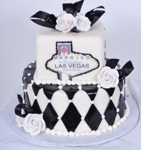 Pastry Palace Las Vegas Wedding Cake 703 - Vegas Black and White