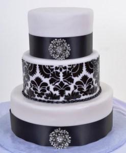 Pastry Palace Wedding Cake #929 - Damask & Crystal