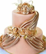 Golden drape wedding cake