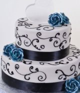 Blue Roses & Chocolate Ribbons wedding cake