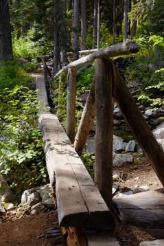 Log Foot bridge hiking camas creek trail no. 125 to camas lake in montana