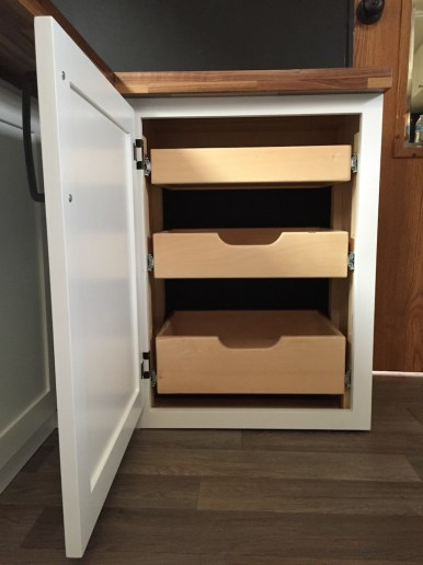 Spice and dry goods storage travel trailer turned tiny house remodel