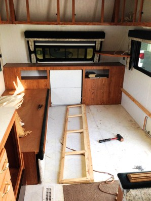 Demo of the Convertible Sofas in our travel trailer remodel