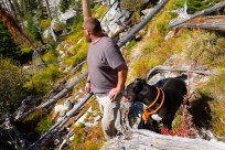exploring the steep shores of camas lake with diesel the mountain dog