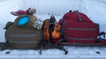 all packed up with our gear. Kelty redwing coyote, thermarest, vivobarefoot, ruffwear, big agnes