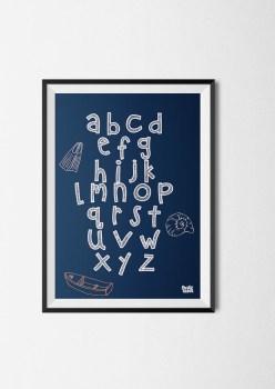 poster alfabet jongens blauw