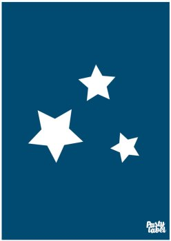 poster sterren donkerblauw