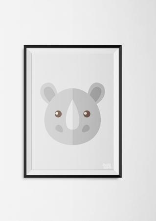 kinderkamer poster neushoorn grijs dieren jungle dierenposter kinderkamer