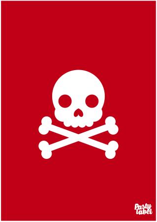 poster piraat doodshoofd rood