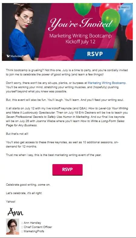 Invitation email Ann Handley